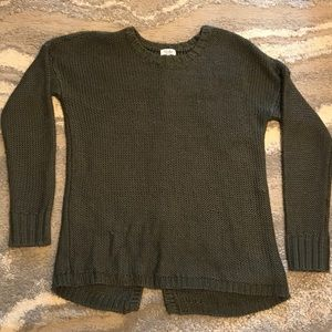 Sweaters - Olive Knit with Peekaboo Back
